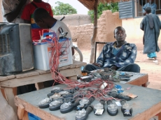 Mali : Solar powered battery charging station in rural Mali supported by GIZ. It is used mainly for charging mobile phones. <br />